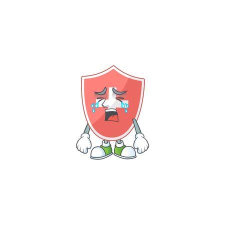 A weeping medical shield cartoon character concept. Vector illustration