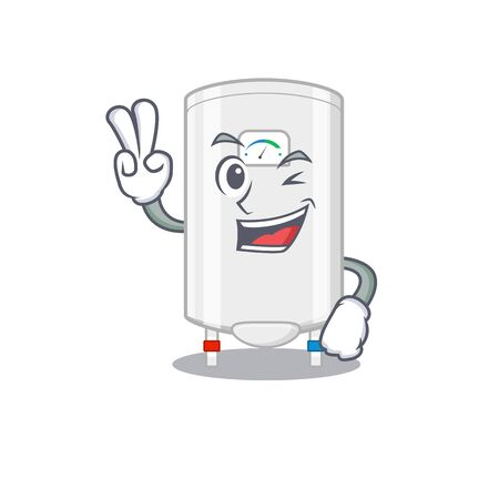 Happy gas water heater cartoon design concept with two fingers