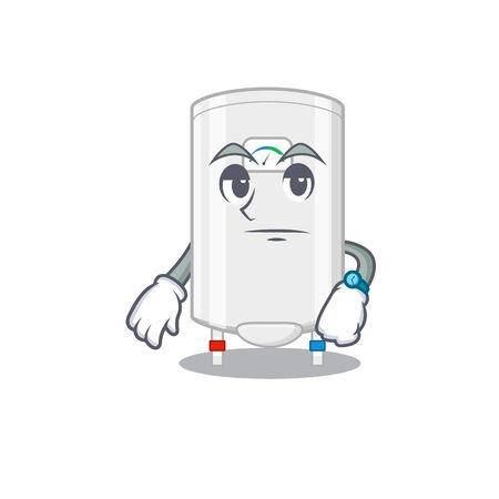 Mascot design of gas water heater showing waiting gesture