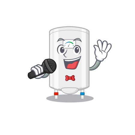 Talented singer of gas water heater cartoon character holding a microphone