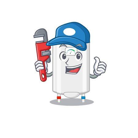 Gas water heater Smart Plumber cartoon character design with tool Ilustracje wektorowe