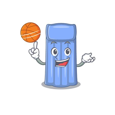 Gorgeous water mattress mascot design style with basketball. Vector illustration