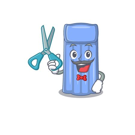 Sporty water mattress cartoon character design with barber. Vector illustration