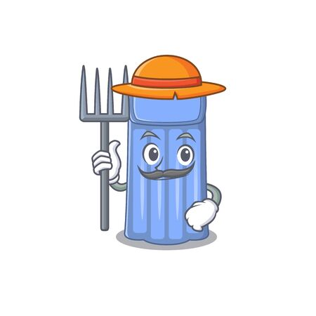 Cartoon character design of water mattress as a Farmer with hat and pitchfork. Vector illustration