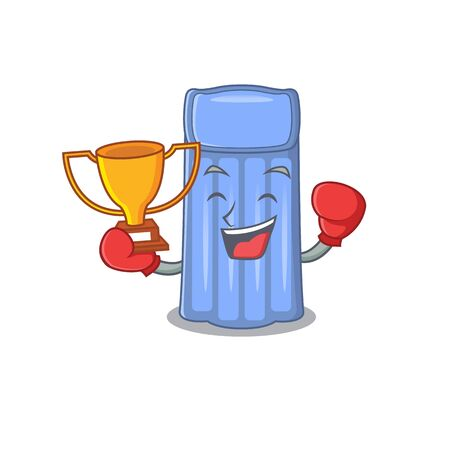 An elegant boxing winner of water mattress mascot design style