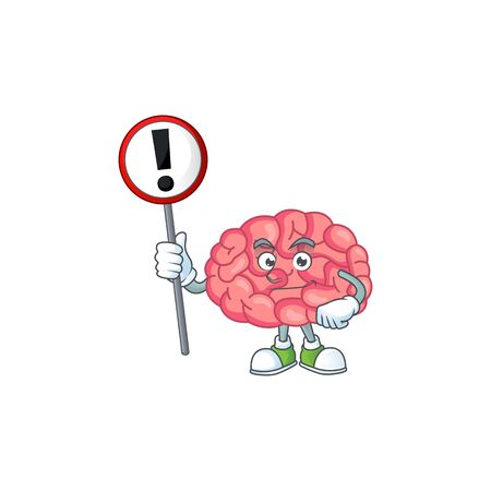 A picture of brain cartoon character concept holding a sign. Vector illustration