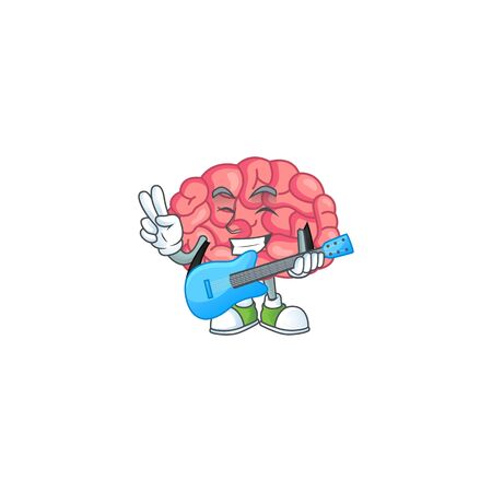 Happy face of brain cartoon plays music with a guitar. Vector illustration