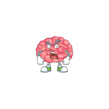 Brain cartoon character design with mad face. Vector illustration Illustration