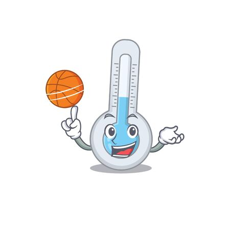 Gorgeous cold thermometer mascot design style with basketball