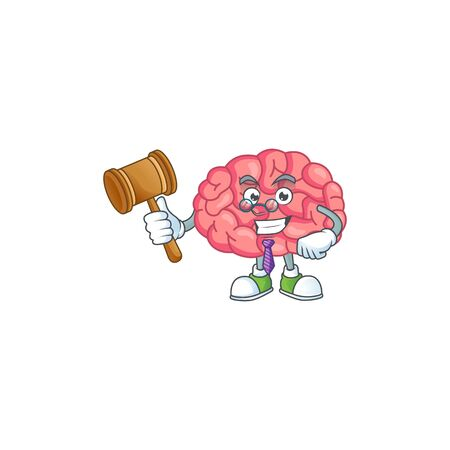 Charismatic Judge brain cartoon character design with glasses. Vector illustration