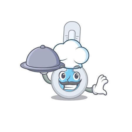 Cold thermometer chef cartoon character serving food on tray