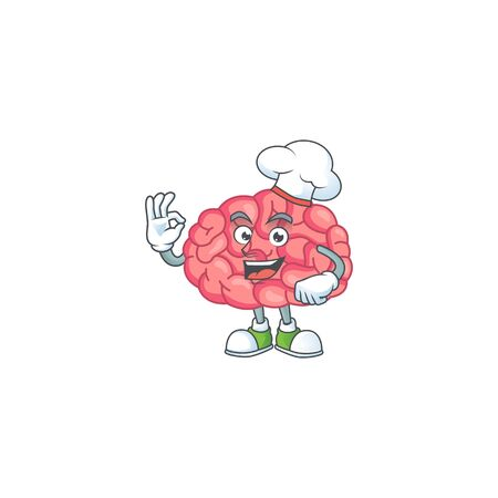 Brain cartoon design style proudly wearing white chef hat. Vector illustration