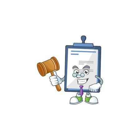Charismatic Judge medical note cartoon character design with glasses. Vector illustration Illusztráció