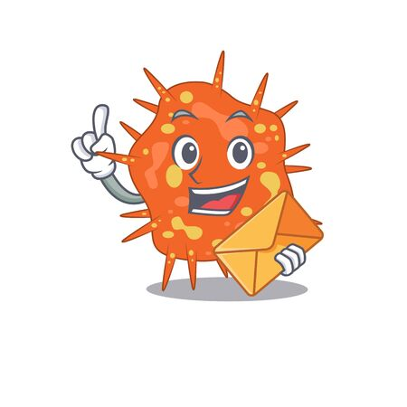 Happy burkholderia mallei mascot design concept with brown envelope