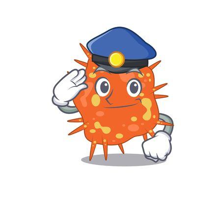Police officer mascot design of burkholderia mallei wearing a hat. Vector illustration