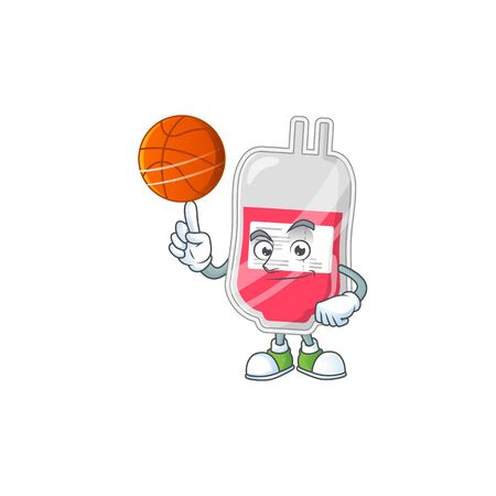 An athletic bag of blood cartoon design style playing basketball. Vector illustration