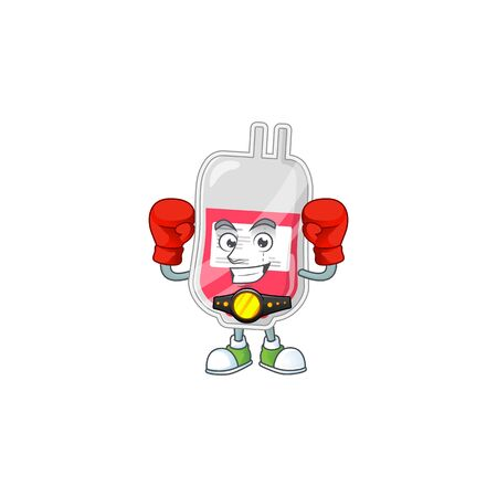 A sporty bag of blood boxing athlete cartoon mascot design style. Vector illustration