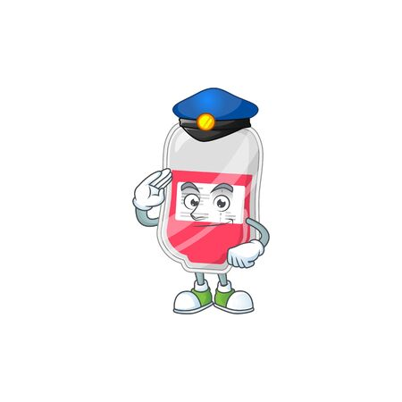 A dedicated Police officer of bag of blood mascot design style. Vector illustration Ilustrace