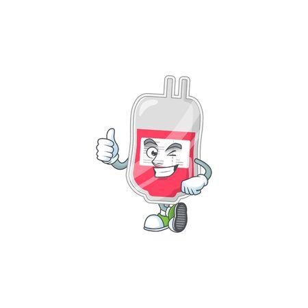 Mascot design style of bag of blood showing Thumbs up finger. Vector illustration Illusztráció