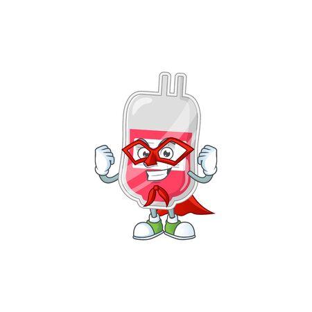 Bag of blood cartoon design concept dressed as Super hero. Vector illustration