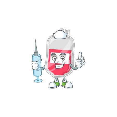 Friendly Nurse bag of blood mascot design style using syringe. Vector illustration