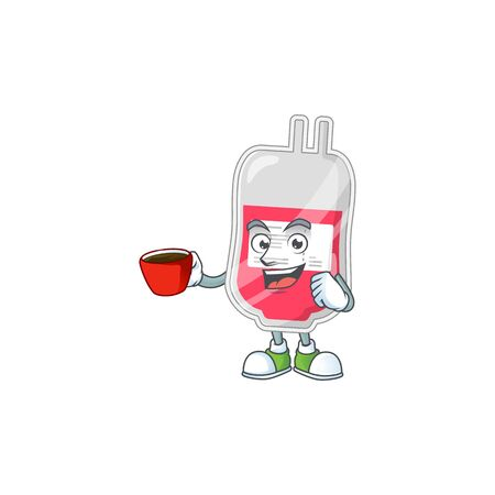 An image cartoon character of bag of blood with a cup of coffee. Vector illustration