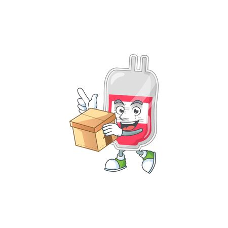 Bag of blood cartoon design style having gift box. Vector illustration