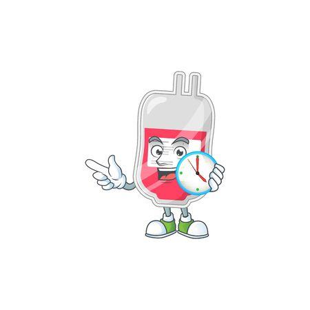 Bag of blood mascot design concept holding a circle clock. Vector illustration