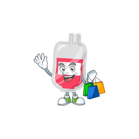 cartoon character concept of rich bag of blood with shopping bags. Vector illustration