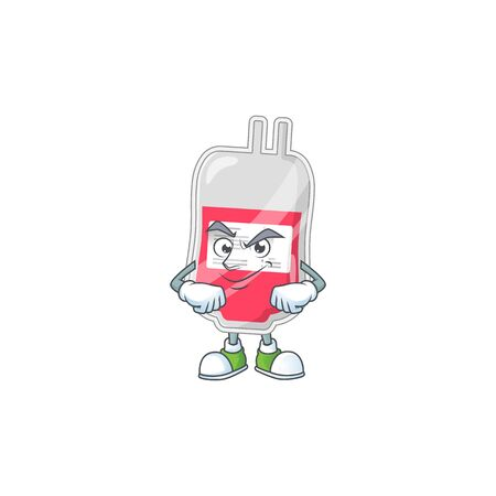 Bag of blood mascot design style with grinning face. Vector illustration Vektoros illusztráció