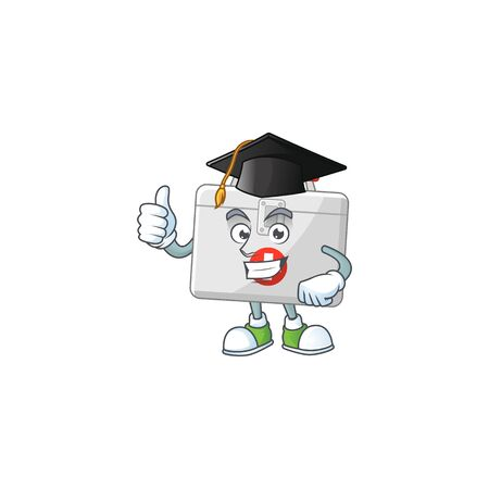Mascot design concept of first aid kit proudly wearing a black Graduation hat. Vector illustration Illustration