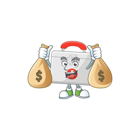 Blissful rich first aid kit cartoon character having money bags. Vector illustration