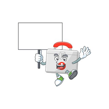 Sweet first aid kit cartoon character rise up a board. Vector illustration Illustration