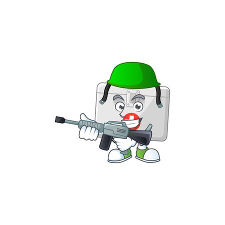 An elegant first aid kit Army mascot design style using automatic gun. Vector illustration