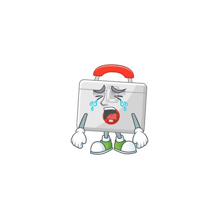 A weeping first aid kit cartoon character concept. Vector illustration