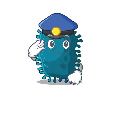 Police officer mascot design of clostridium wearing a hat. Vector illustration Vettoriali