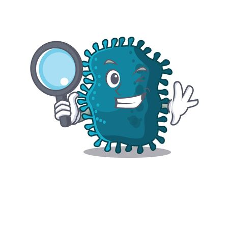 Smart Detective of clostridium mascot design style with tools