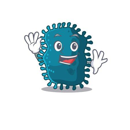 A charismatic clostridium mascot design style smiling and waving hand Illusztráció