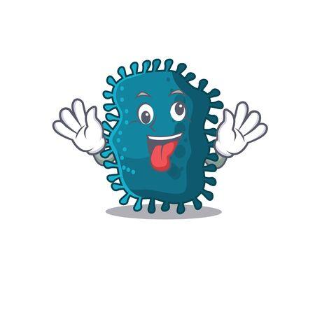 A cartoon design of clostridium having a crazy face Vettoriali