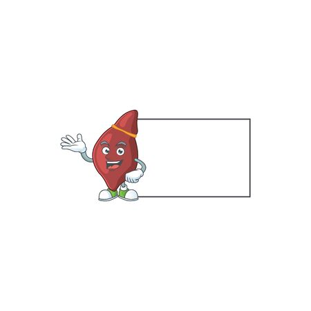 An image of liver with board mascot design style