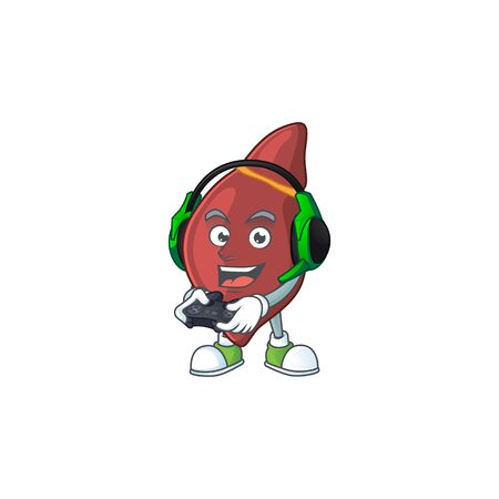 A cartoon design of liver talented gamer play with headphone and controller
