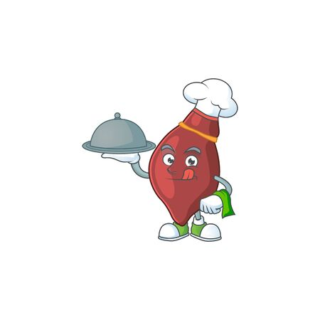 A liver chef cartoon design with hat and tray 向量圖像