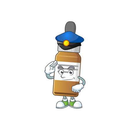 A dedicated Police officer of liquid bottle mascot design style. Vector illustration