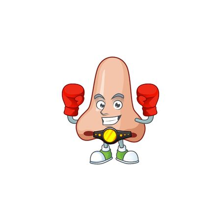 A sporty nose boxing athlete cartoon mascot design style. Vector illustration Illustration