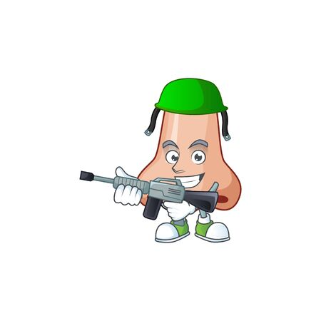 An elegant nose Army mascot design style using automatic gun. Vector illustration Illustration