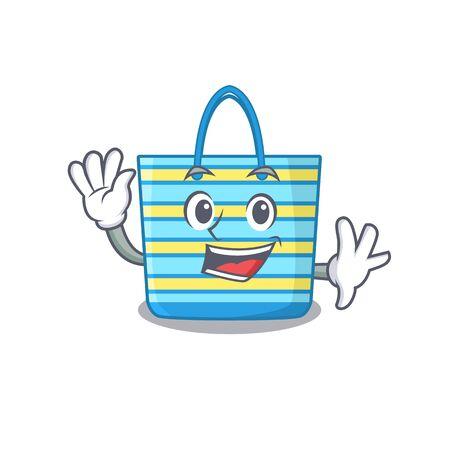 A charismatic beach bag mascot design style smiling and waving hand. Vector illustration Illusztráció