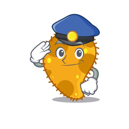 Police officer mascot design of pseudomonas wearing a hat Vettoriali