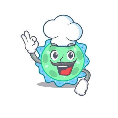 Pseudomonas aeruginosa chef cartoon design style wearing white hat