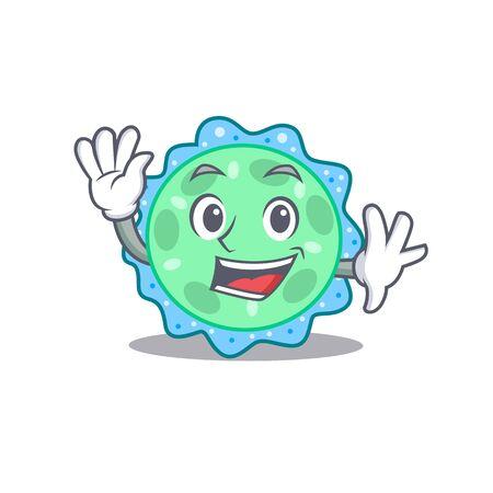 A charismatic pseudomonas aeruginosa mascot design style smiling and waving hand