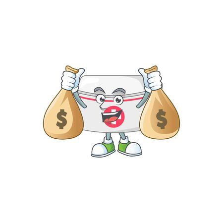 Blissful rich nurse hat cartoon character having money bags Illustration